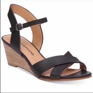 LUCKY BRAND   Jaidan Black Demi Wedge Sandals 9.5